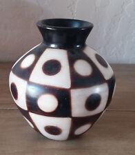 Vintage Art Pottery Chulucanas Signed Artist Black White Pot Peru Vase Geometric