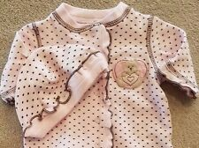 ADORABLE! LITTLE ME PREEMIE 2PC PINK POLKA DOT FOOTED SLEEP N PLAY OUTFIT W/HAT