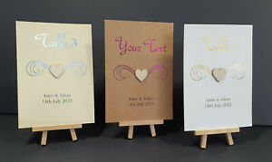 Personalised Foiled Foil Wedding Table Numbers/Name Cards with Wooden Heart A6