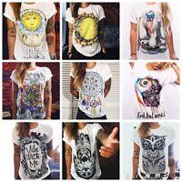 VINTAGE Boho Women Casual Summer Short Sleeve Cartoon Cotton T-Shirt Blouse Tops