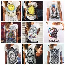 VINTAGE Boho Women Casual Summer Short Sleeve Cartoon Cotton T-Shirt Blouse Tops