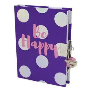 Girls Kids Children's Be Happy Small Lined Lockable Journal with Lock and Keys