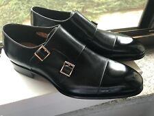 NEW💥Santoni💥Carter💥GOODYEAR 11652 Double MonkStrap Black UK 10 Calf Men Shoes