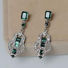 ohrringe`Ohren Clips Silber Kerzenhalter art deco grün Smaragd Ehe J8