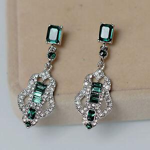 Rings` Ears Clips Silver Chandelier Art Deco Green Emerald Marriage J8