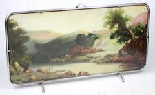VINTAGE ART DECO CHROME FIRE SCREEN WITH A PAINTING # LARGE   120 cm X 65 cm #