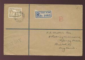 TURKS ISLAND 1938 FIRST DAY COVER 1/- REGISTERED SELFRIDGES ENVELOPE