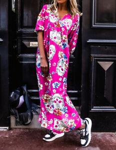 Women Summer Short Sleeve Skull Maxi Dress Ladies Beach V Neck Long Dress E6131