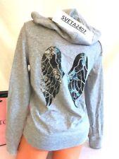 NWT Victoria's Secret Angel Wings Bling Sequins Zip-Up Hoodie/Jacket~Gray~Sz L