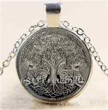 Celtic Silver Wolf Tree Of life Glass Cabochon Tibet Silver Chain Necklace