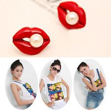 Women Girl Rhinestone Crystal Sexy Red Lip Pearl Ear Stud Earrings Jewelry 2017