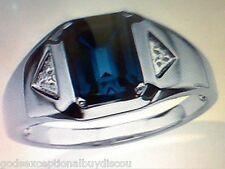 PLATINUM & SS MEN BLUE SAPPHIRE & DIAMOND RING SZ 8 SZ 9 SZ 10 SZ 11 SZ 12 SZ 13
