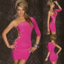 Sz 10 12 Pink One Shoulder Cocktail Party Slim Fit Sexy Club Bodycon Dress Chic