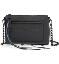 NWT Rebecca Minkoff Avery Leather Crossbody Bag Clutch Black/Black with Dust Bag