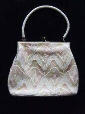Amazing Beaded Purse/Evening Bag- Korea- Pink/White/Iridescent Beads