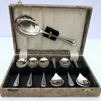 Vintage Retro Sheffield Nickel Plate Fruit Set Serving Spoon 6 Dessert Spoons