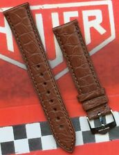 GENUINE TAG HEUER STEEL BUCKLE & GEN. ALLIGATOR BROWN STRAP 20mm LEATHER LINED