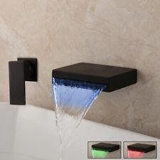 LED Matte Black Bathroom Basin Sink Mixer Waterfall Faucet Wall Mounted Taps