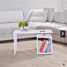 White Coffee Table Storage Cube Design Side Magazine Shelf Wood Modern Furniture