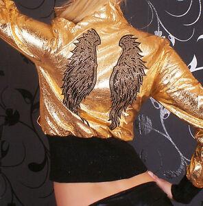 Sexy Miss Damen Jacke Crash Lederimitat Flügel Nieten gold metallic S 34 M36 L38