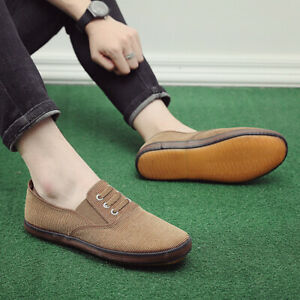 Men's Shoes Comfortable Canvas Style Slip On Casual Round Toe Casual Loose