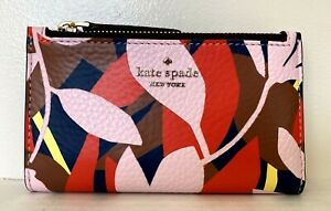 New Kate Spade Jackson small Slim Bifold wallet Leather Tropical Toss Pink multi