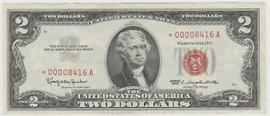 1963 $2 Dollar Bill Red Seal US STAR Note Nice, High Grade FREE SHIPPING 416A