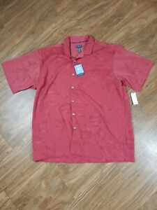 Van Heusen Dress Shirt Hawaiian Size XL Leaf Print Tibetan Red Air Sandwashed