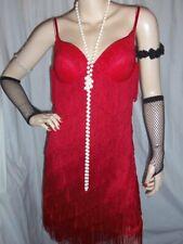 14/10 RED GLITTER PADDED BRA STRAP FRINGE FLAPPER 1920 TASSEL FANCY DRESS 14