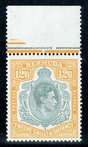 Bermuda 1938 SG120e 12/6 Grey & Pale Orange P13.2 Flaws Superb U/M/M