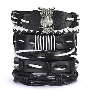 Men Black Leather Owl Bracelet Surfer Wide Multi Row Layer Stack Wristband Wrap