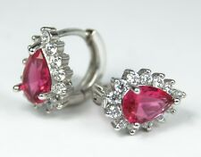 Women's 18 Carat White Gold Plated Red Zircon Huggie Earrings