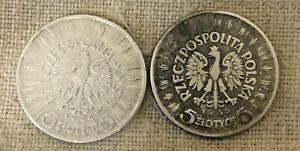 Lot of 2 coin Poland 5 ZLOTYCH  silver coin 1934 35  zl Pilsudskii