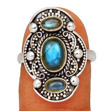 Bali Design - Labradorite - Madagascar 925 Silver Ring Jewelry s.8 BR60860