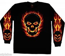 T-Shirt ML FLAME SKULL - Taille L - Style BIKER HARLEY