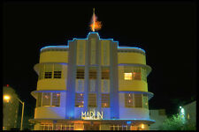 448027 Art Deco District At Night Miami Beach A4 Photo Print