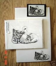Duck and Kitten Friends 3 Pc Set-Notepad, 6 Blank Notecards and Magnet New