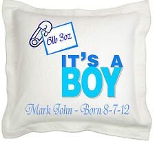 New Born Baby Boy Gift Personalised Cushion cover