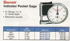 "Starret Indicator Pocket Gage Grauation .001"" NEW"