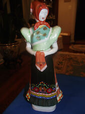 HOLLOHAZA Hungarian Porcelain Large Peasant Woman  Figurine