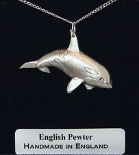 Orca (Killer Whale) Necklace in Fine English Pewter, Handmade, Gift Boxed (H)