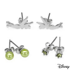 DISNEY Tinkerbell  Studs Earrings W/Crystal & Faux Pearl in  Base Metal.