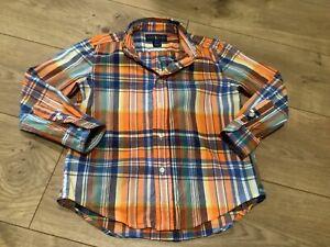 Ralph Lauren Shirt Button Down Size 5 Plaid Multi-Color Orange Blue Gently Used