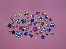 200 - PLASTIC RHINESTONE FLATBACKS - FLOWERS - ASSORTED COLORS & SIZES - NEW!!