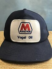 Vintage Marathon Oil Gas Hat Cap Snapback Patch RARE Vogel Oil USA Made
