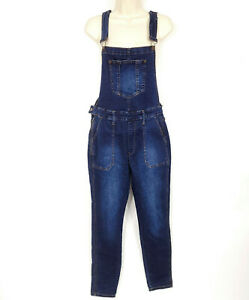 Forever 21 Womens Overalls Denim Size Large Blue Jeans Dark Wash Stretch NEW
