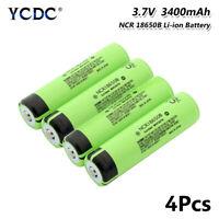 4Pcs Authentic 3.7V 3400mAh NCR 18650B Li-ion Battery With PCB For Flashlight C