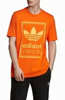 Adidas Mens Shirt Orange Size XL Graphic Tee Logo Crew Short Sleeve $28 #163