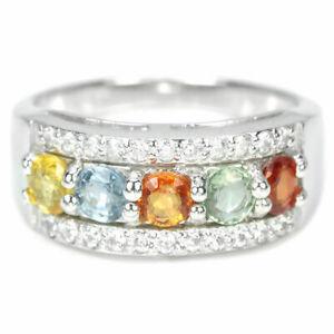 multi gemstones sapphires set in sterling silver band 0