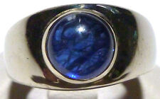 8mm CABOCHON BLUE SAPPHIRE 14K WHITE GOLD WOMENS ESTATE PINKY RING SIZE 6.25